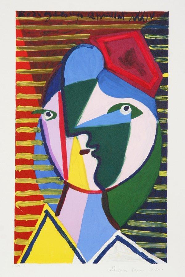 104: Pablo Picasso, Visage de Femme sur Fond Raye, Lith