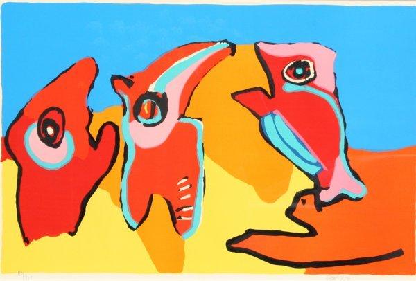 7: Karel Appel, Three Birds, Lithograph