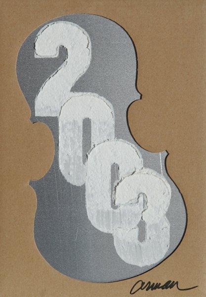 11: Arman, New Year's Card, 2003 Mixed Media
