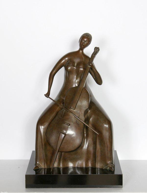 14: Branko Bahunek, The Cellist, Bronze Sculpture