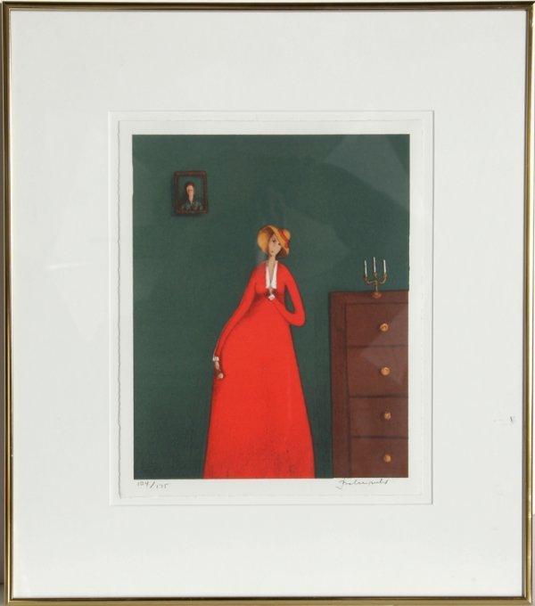 15: Branko Bahunek, The Woman in Red, Serigraph