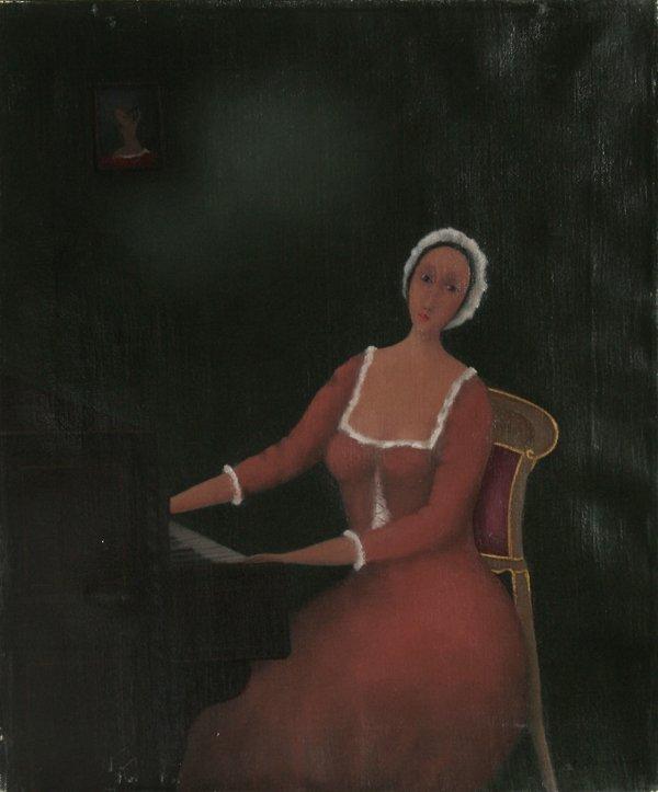 18: Branko Bahunek, The Pianist, Oil Painting