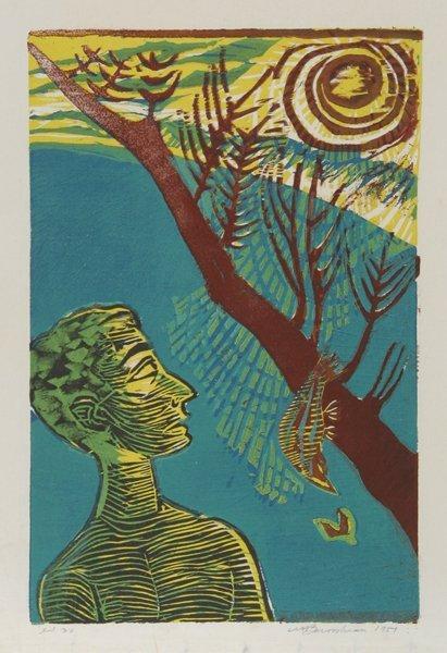 20: Martin Barooshian, Heaven and Hell, Woodcut