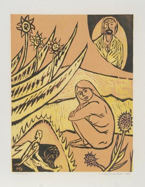 21: Martin Barooshian, Sungazer, Woodcut