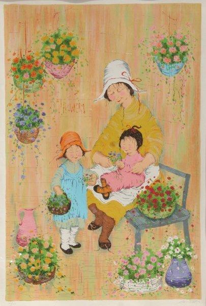 23: Mildred Barrett, Flowers, Lithograph