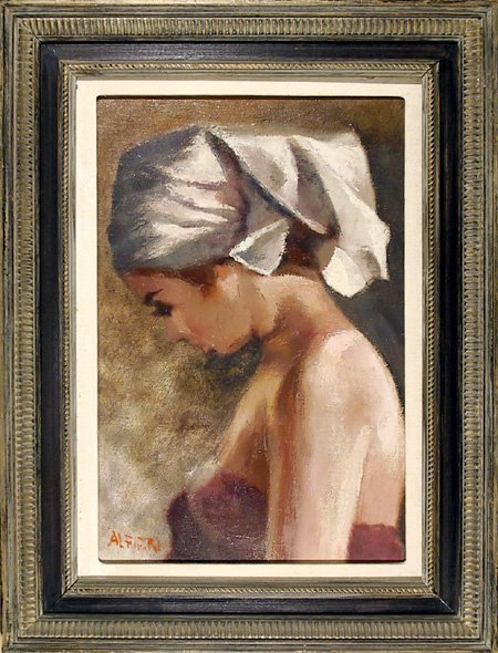 3: Attilio Alfieri, Young Girl, Oil Painting