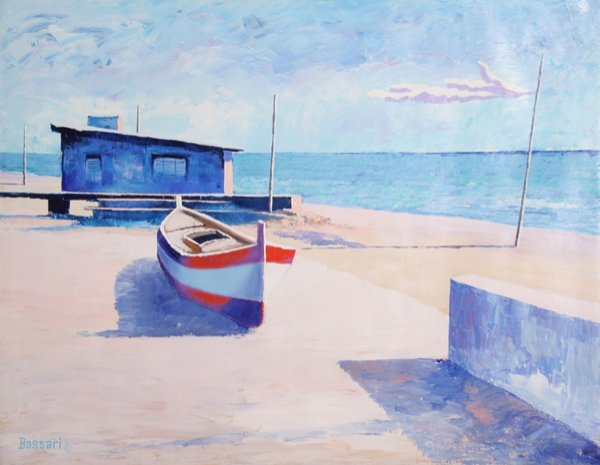 24: Bassari, Boat on the Beach, Oil Painting