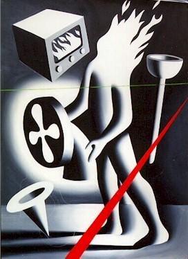 2: Mark Kostabi, Is Gramercy Park Burning, Oil Painting