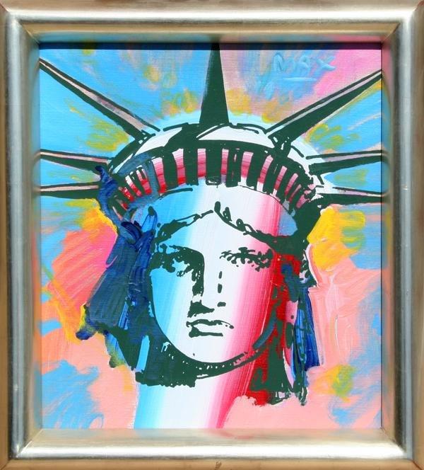 13: Peter Max, Liberty Head, Acrylic Painting