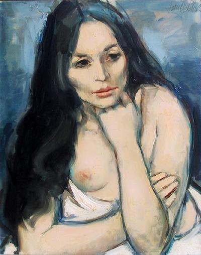 19: Jan De Ruth, White Drape, Oil Painting
