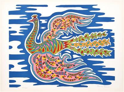 Edouard Dermit, Flying Peacock I, Screenprint