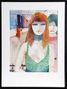 Charles Levier, High Fashion Paris Women, Watercolor on