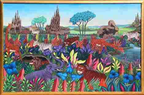 K. Thomas, African Animals, Acrylic Painting