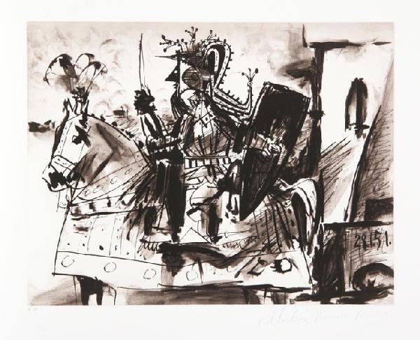 4: Pablo Picasso, Cavalier en Armure, Lithograph