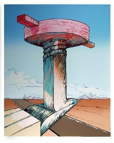 14: Charles Magistro, Surrealist Landscape, Serigraph