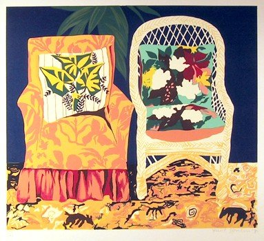 24: Hunt Slonem, Chair Duet, Serigraph
