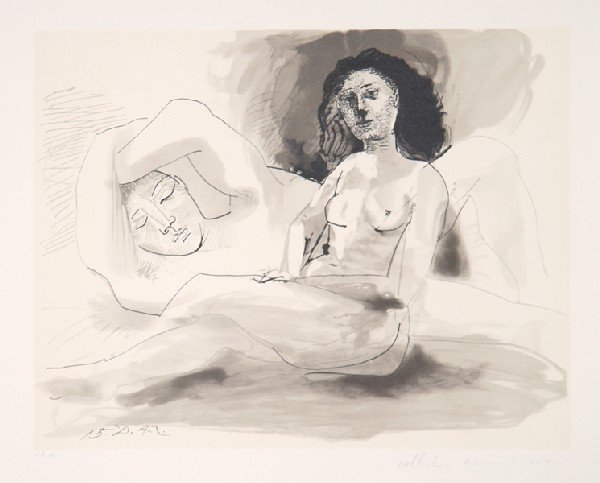 1: Pablo Picasso, Homme Couchee Et Femme Assise, Lithog