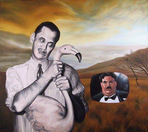 4: Mark Kostabi, John Waters, Oil Painting