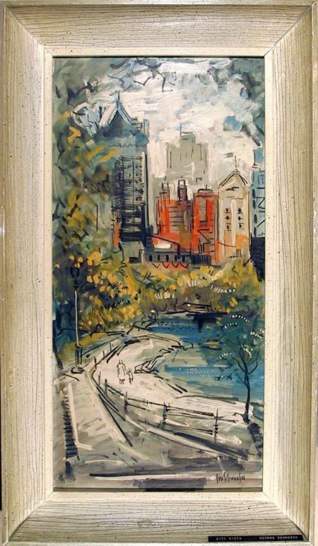 21: George Schwacha, City Vista, Oil Painting
