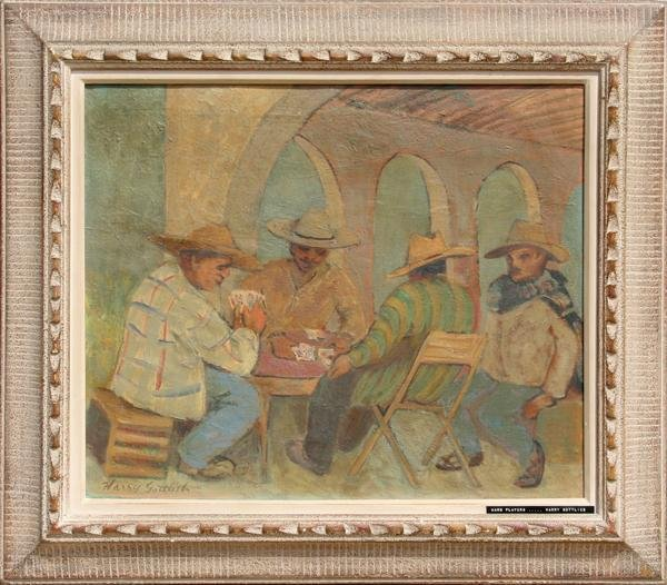 22: Harry Gottlieb, Card Players, Oil Painting