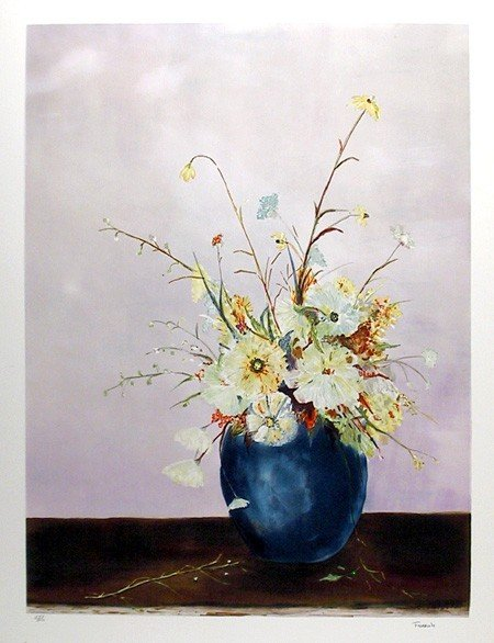 12: Fioravanti, Blue Vase Floral, Lithograph