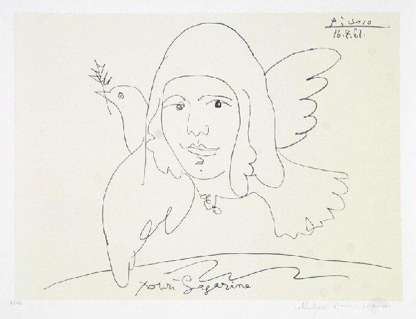16: Pablo Picasso, Youri Gagarine, Lithograph