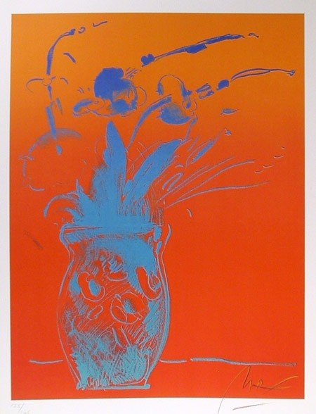 21: Peter Max, Blue Vase, Lithograph