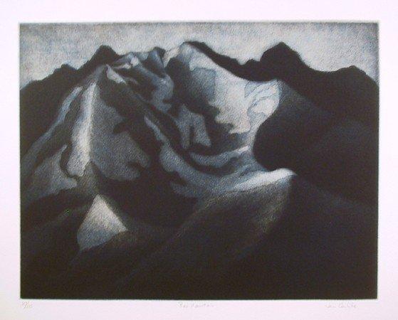 23: Jan Hildebrand Carlile, Red Mountain, Aquatint Etch