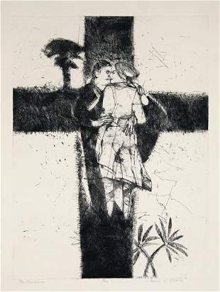 93: James Davis, The Embrace, Etching and Drypoint