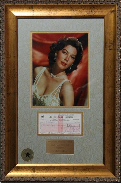 12: Ava Gardner, Autographed Personal Check with Photog