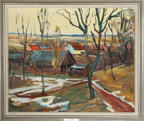 6: Emil Rizek, Village Scene, Oil Painting