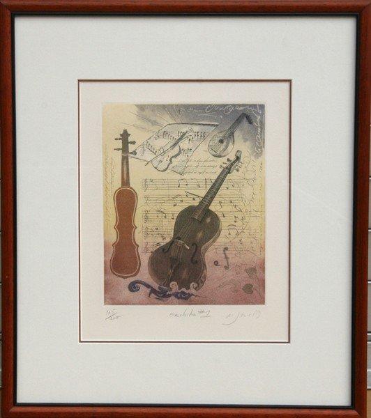 9: M. J. Wells, Orchestra #1, Aquatint Etching