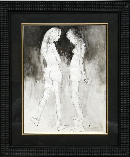 12: Jean Jansem, Two Nudes, Gouache Painting