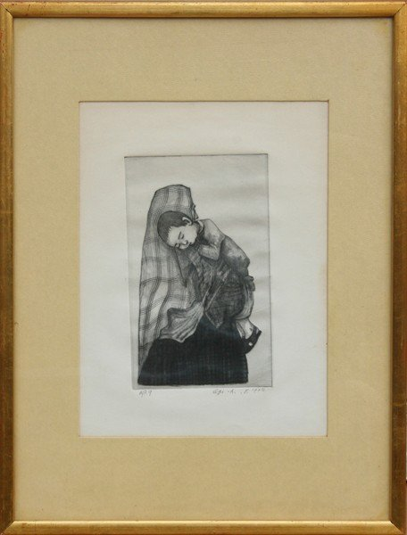 18: Amram Ebgi, Mother and Child, Etching