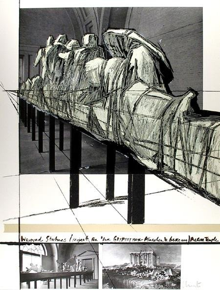 8: Christo, Wrapped Statues, Silkscreen with Collage