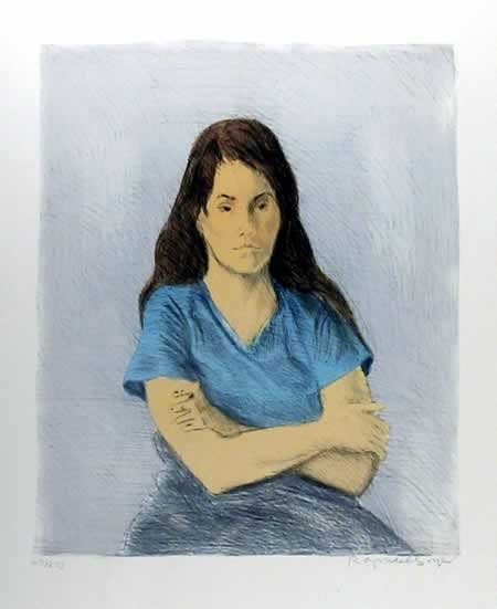 22: Raphael Soyer, Seated Girl, Lithograph