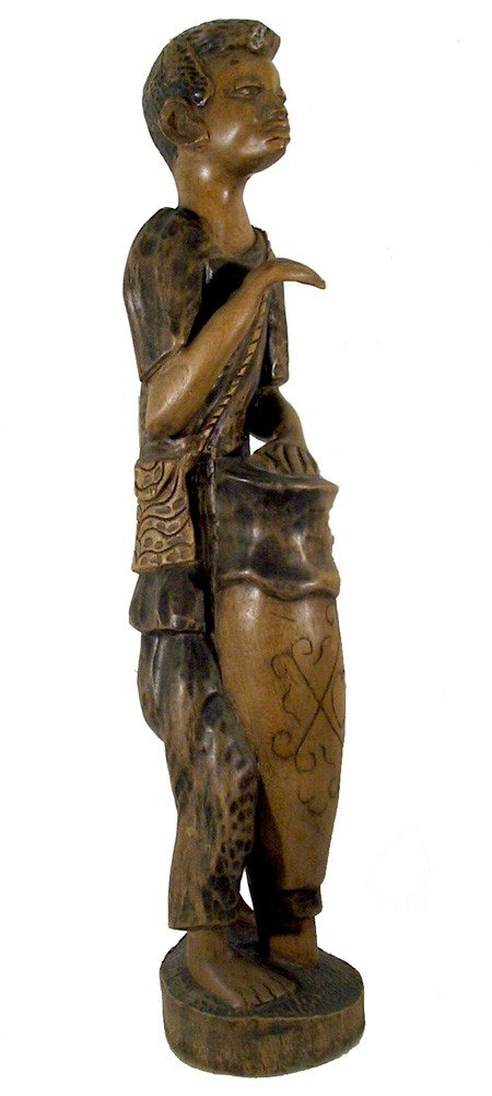 3: African, Drummer, Hand-Carved Wood Sculpture