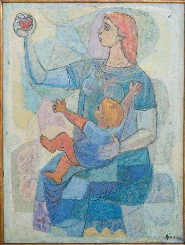 7: Irving Amen, Mother and Child - The Apple, Oil Paint