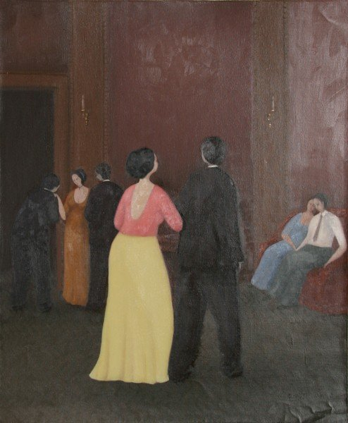 18: Branko Bahunek, Party Scene, Oil Painting