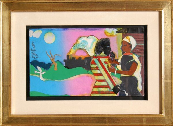23: Romare Bearden, Memories #2, Ink, Dye Paint with Co