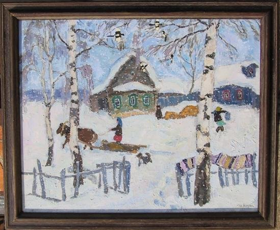 133: Moisey Kogan, Winter Scene, Oil Painting
