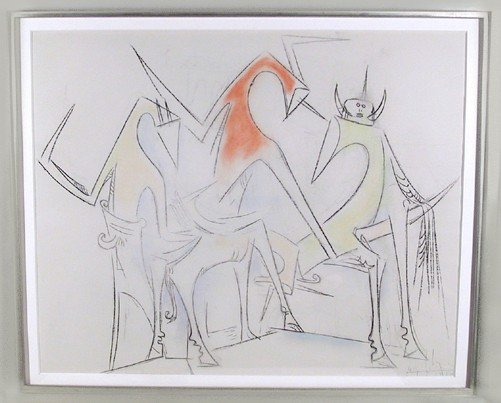 21: Wifredo Lam, Crayon and Pastel Drawing