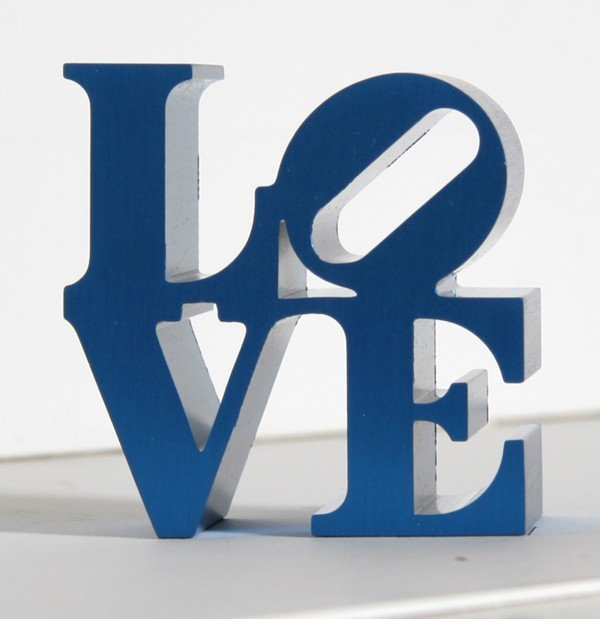 2: Robert Indiana, Blue Love, Aluminum Sculpture