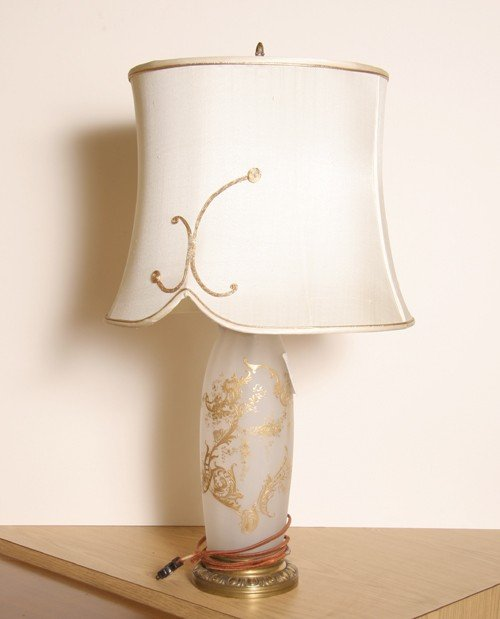 11: Frosted Glass French Table Lamp, Vase Base