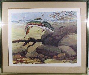 14: Bill Elliot, Rainbow Trout, Lithograph