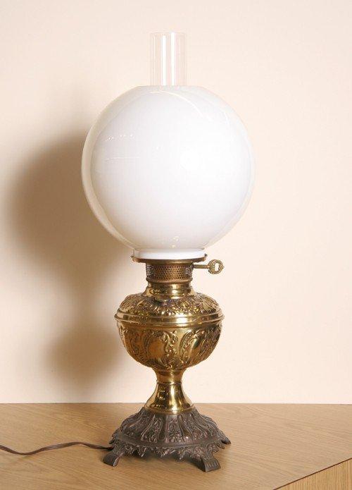 18: Brass Lamp with Glass Globe
