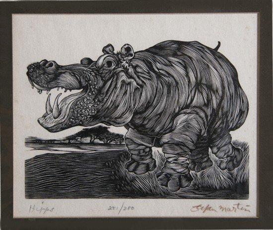 19: Stefan Martin, Hippo, Wood Engraving