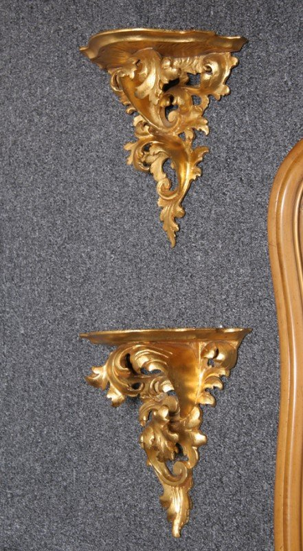 24: Pair of Italian Gold Leaf Motif Shelves