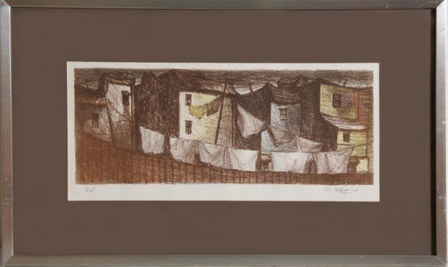 25: P. Alfieri, Back Yard Scene, Lithograph