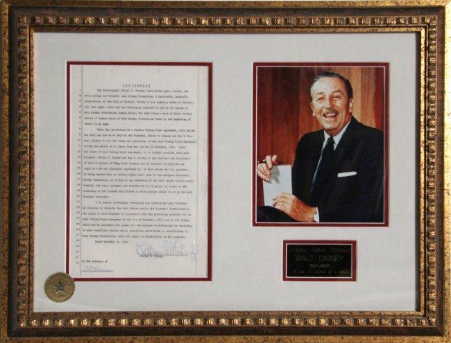 528: Walt Disney Autographed Document with Photograph